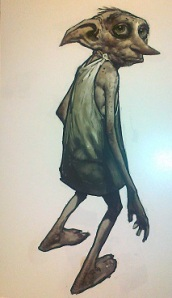 Artists drawing of Dobby at the Warner Bros Studio Tour, London.